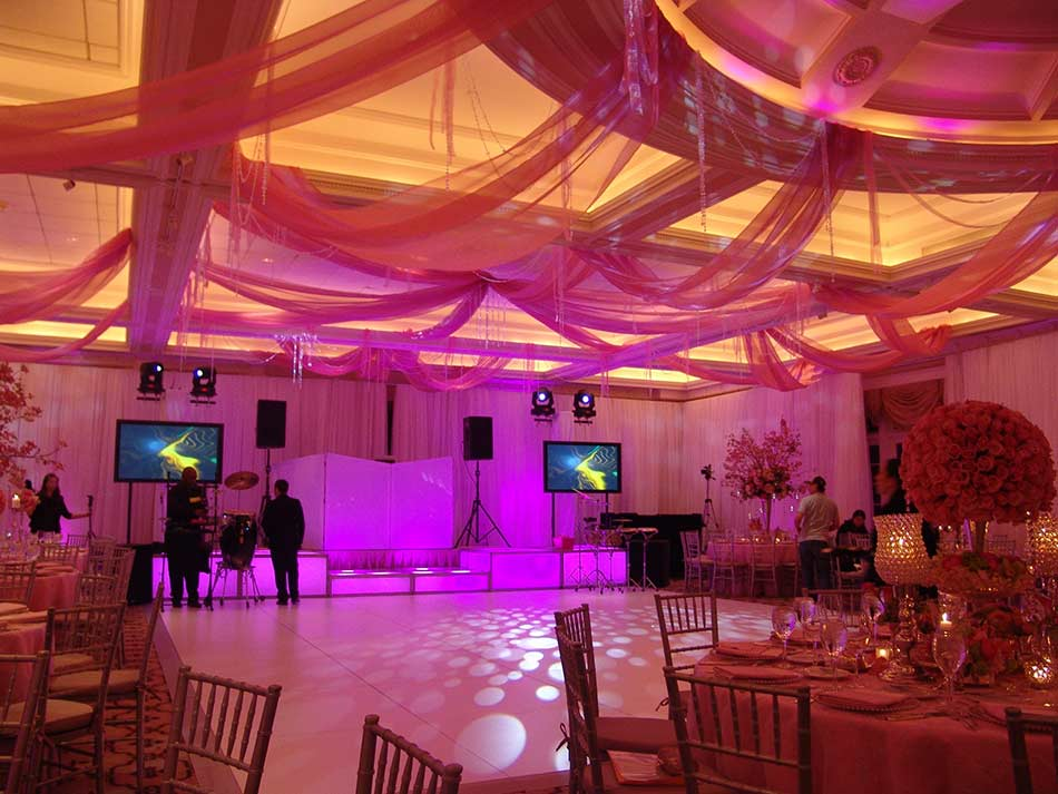 Ceiling-treatment-dance-floor-with-lighted-shapes-LED-stage-decks-and-video-screens