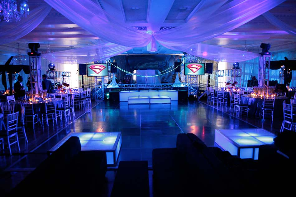 Dance-floor-rental-with-LED-stage-decks-ceiling-treatment-and-video-screens