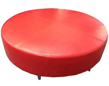 Round-red-ottoman