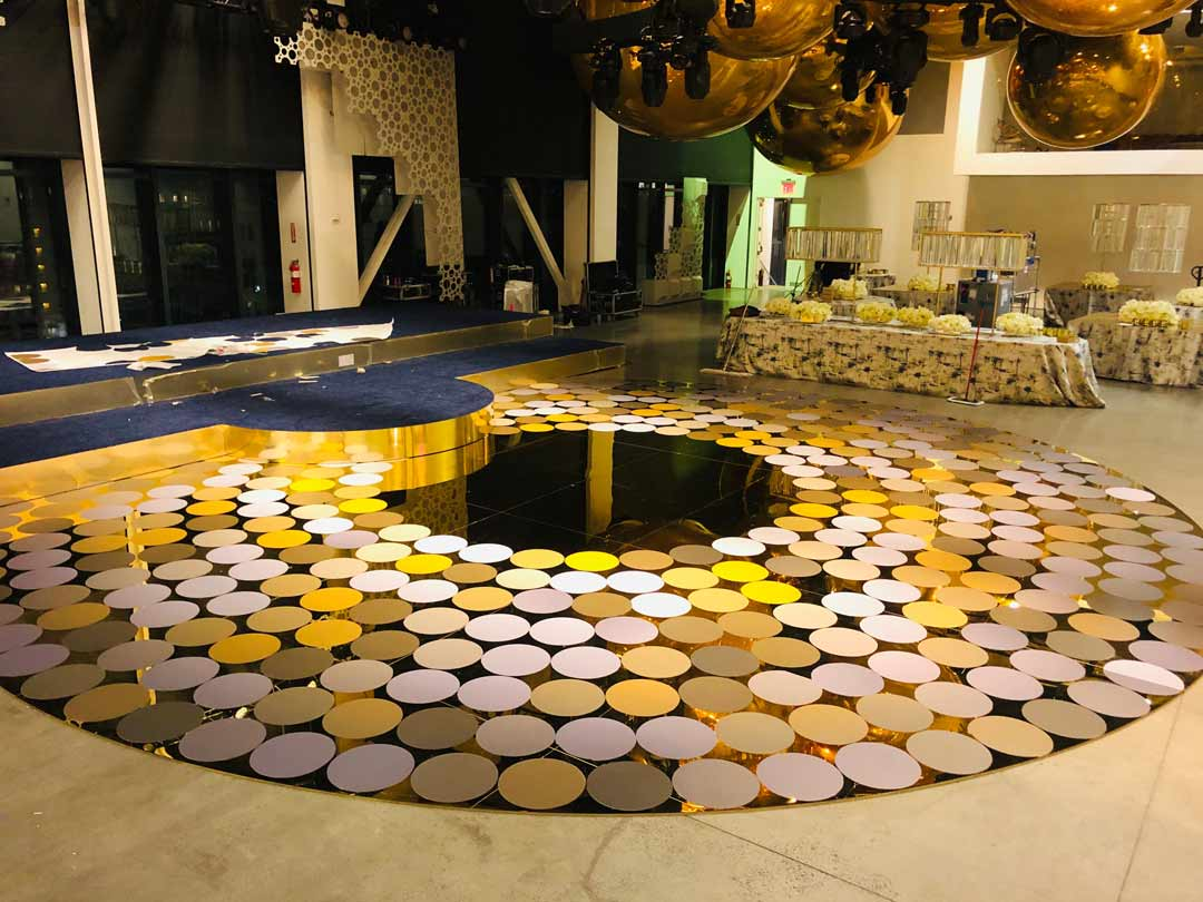 round mirrored portable dance floor with mod circle stickers